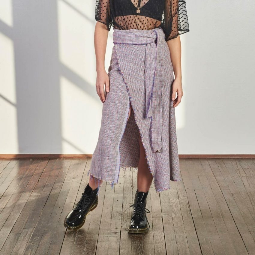 Boucle Wrap Skirt-0