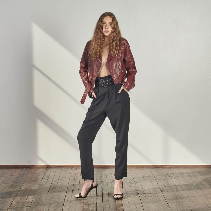 High Waisted Woven Trousers-0