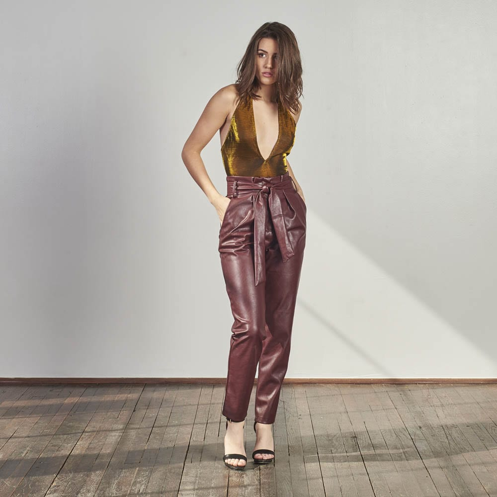 Wine Knitted Trousers-0