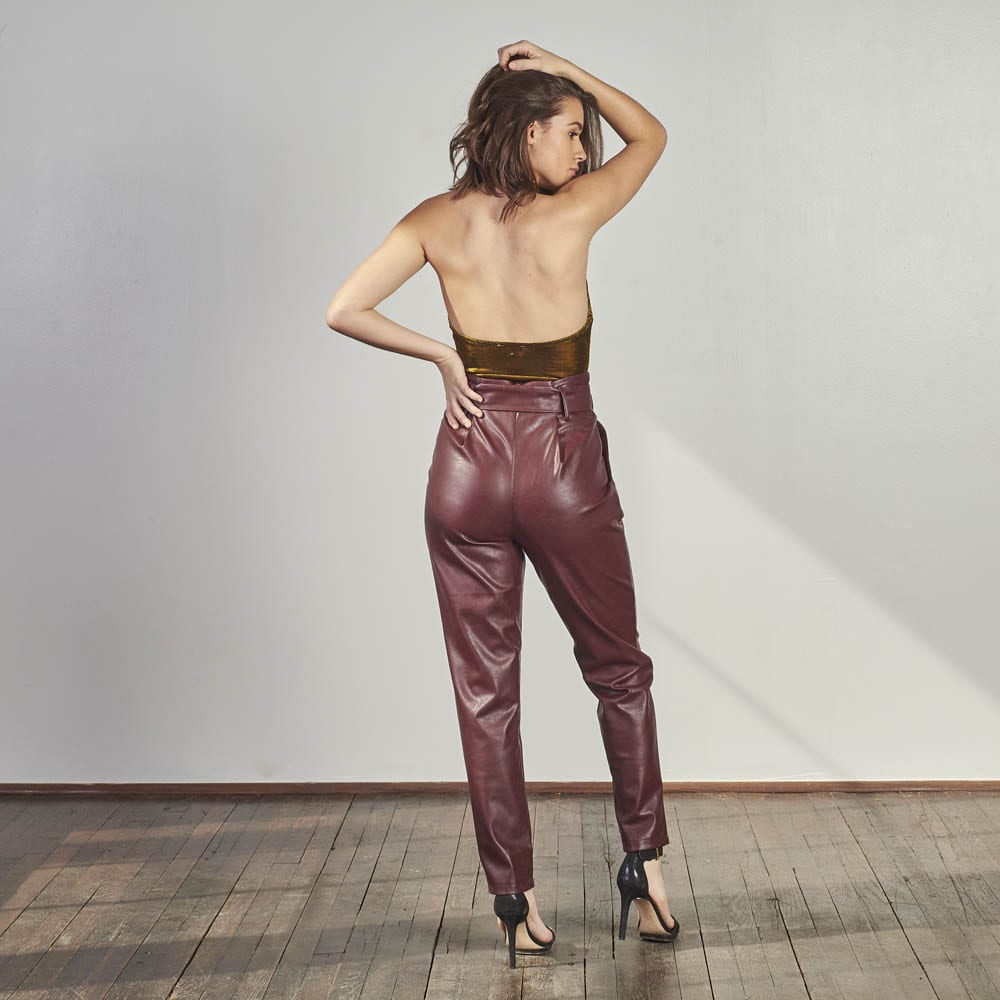 Wine Knitted Trousers-4920