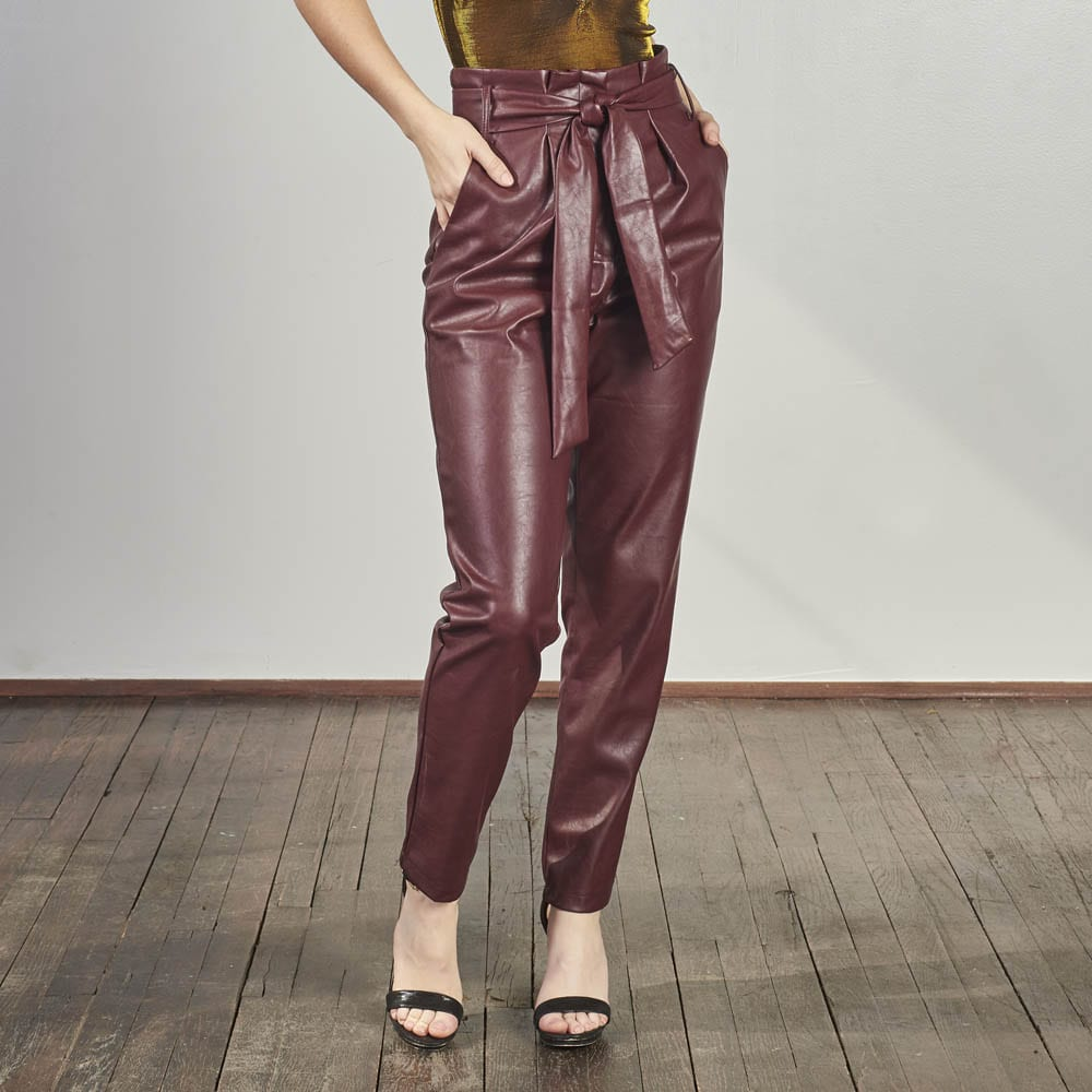 Wine Knitted Trousers-4921