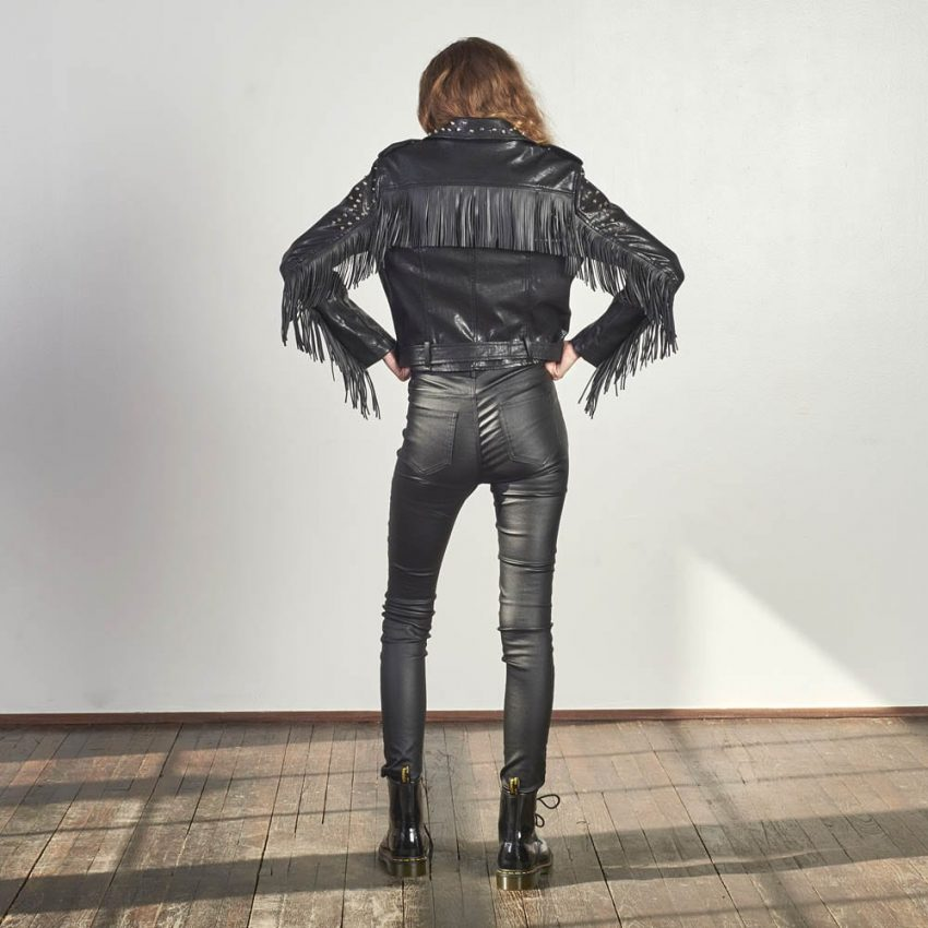 Studded Fringe Leatherette Jacket-5188