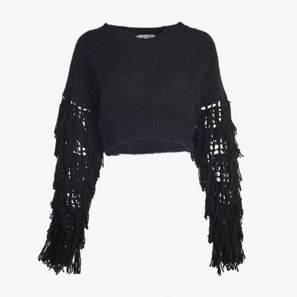 Black Tasseled Sweater-5069