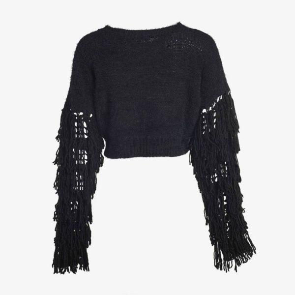 Black Tasseled Sweater-5071