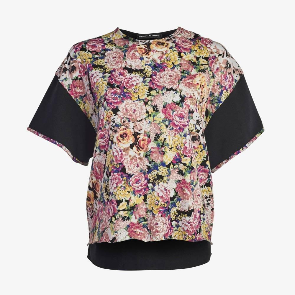 Floral Black sleeve Boxy Tee-5144