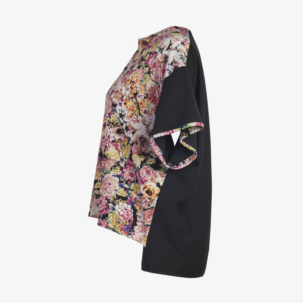 Floral Black sleeve Boxy Tee-5145