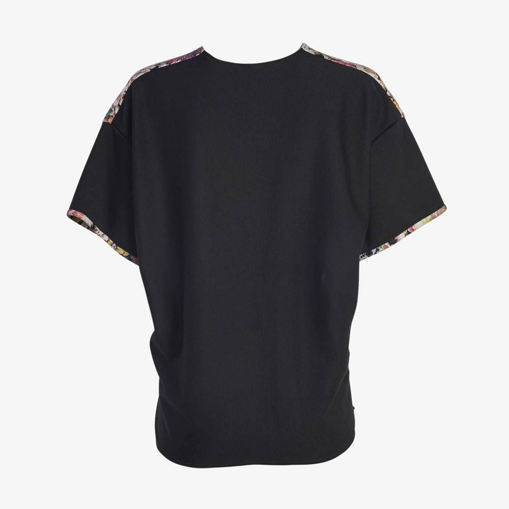 Floral Black sleeve Boxy Tee-5146