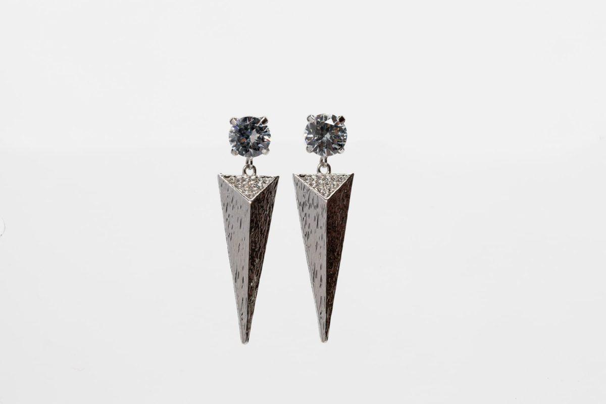 Cubic Zirconia triangle Spike Earring -0