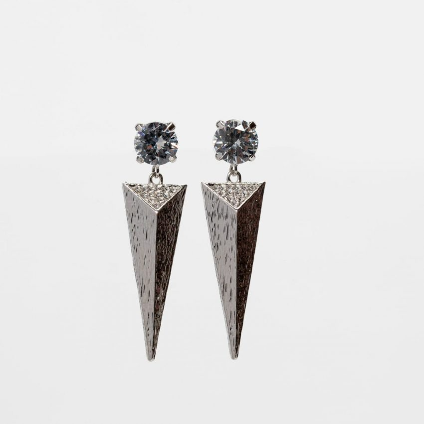 Cubic Zirconia triangle Spike Earring -0