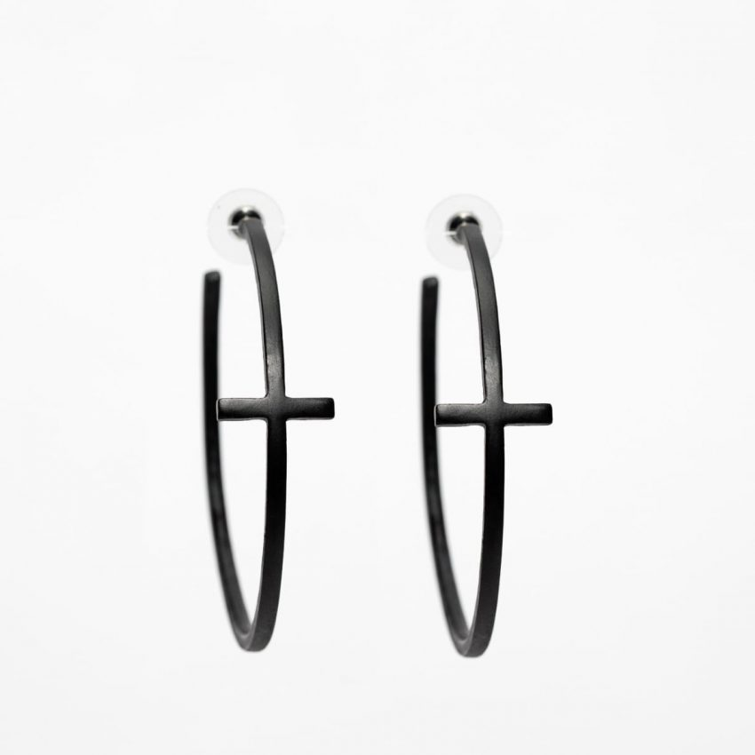 Black Cross Hoop Earring-0