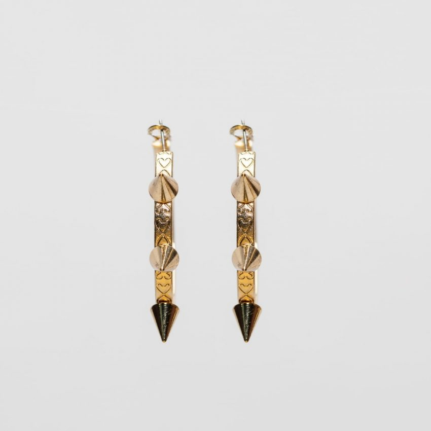 Gold Spike Hoop Earring-5007