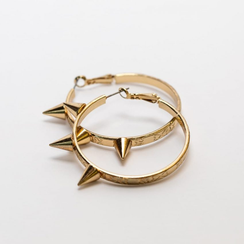 Gold Spike Hoop Earring-0
