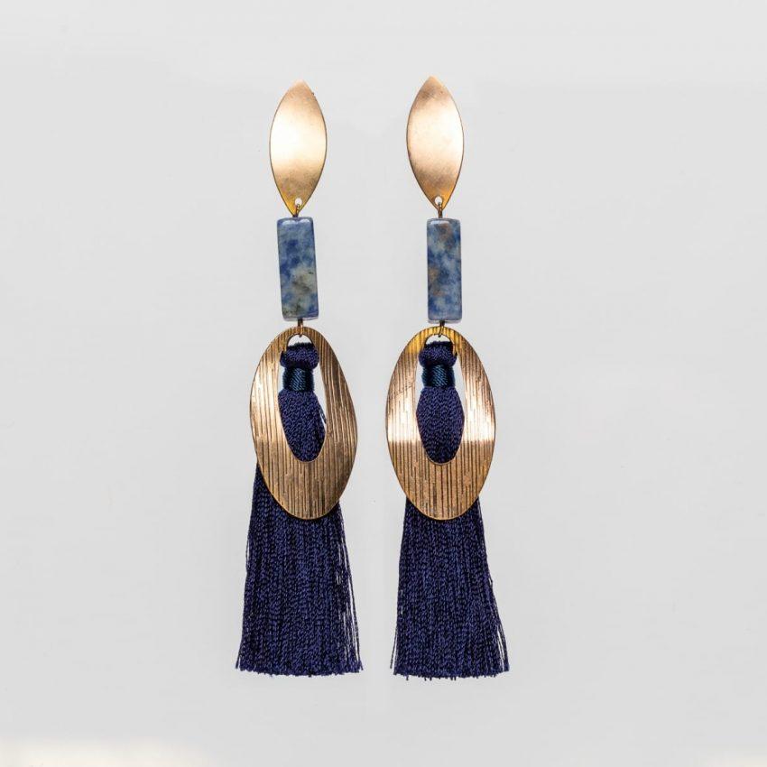 Royal Blue Fringe Earring-0