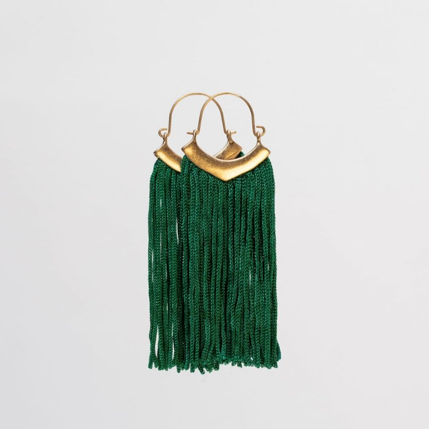 Emerald Fringe Earring-4988