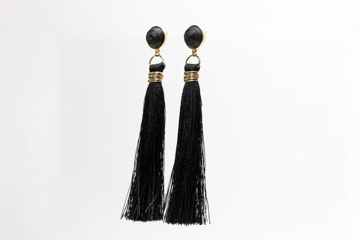 Black Fringe Earring-4991