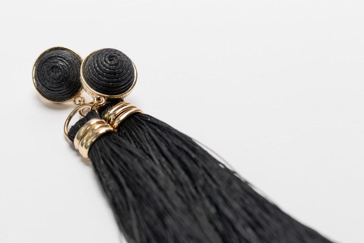 Black Fringe Earring-4992