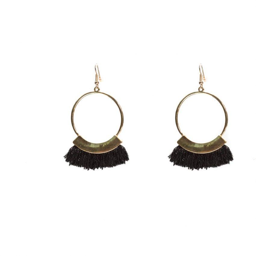 Black Fringe Hoop Earring-0