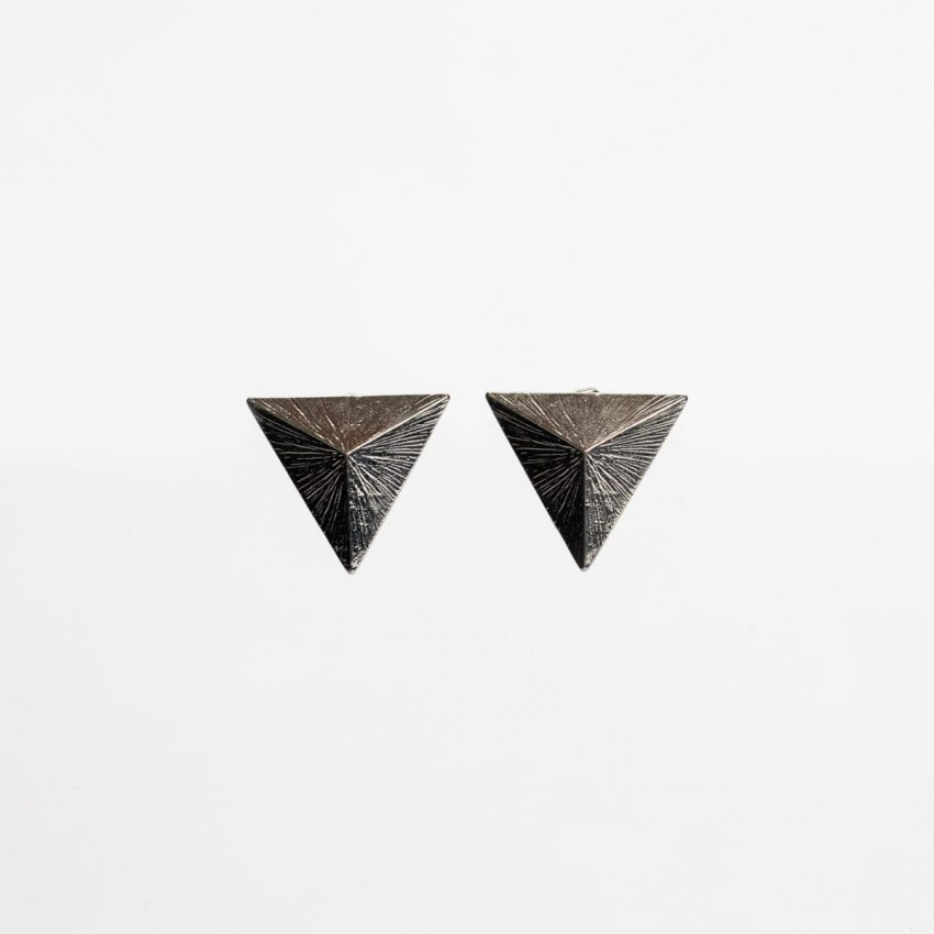 Pyramid Silver Stud Earring -0