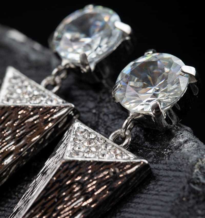 Cubic Zirconia triangle Spike Earring -5002