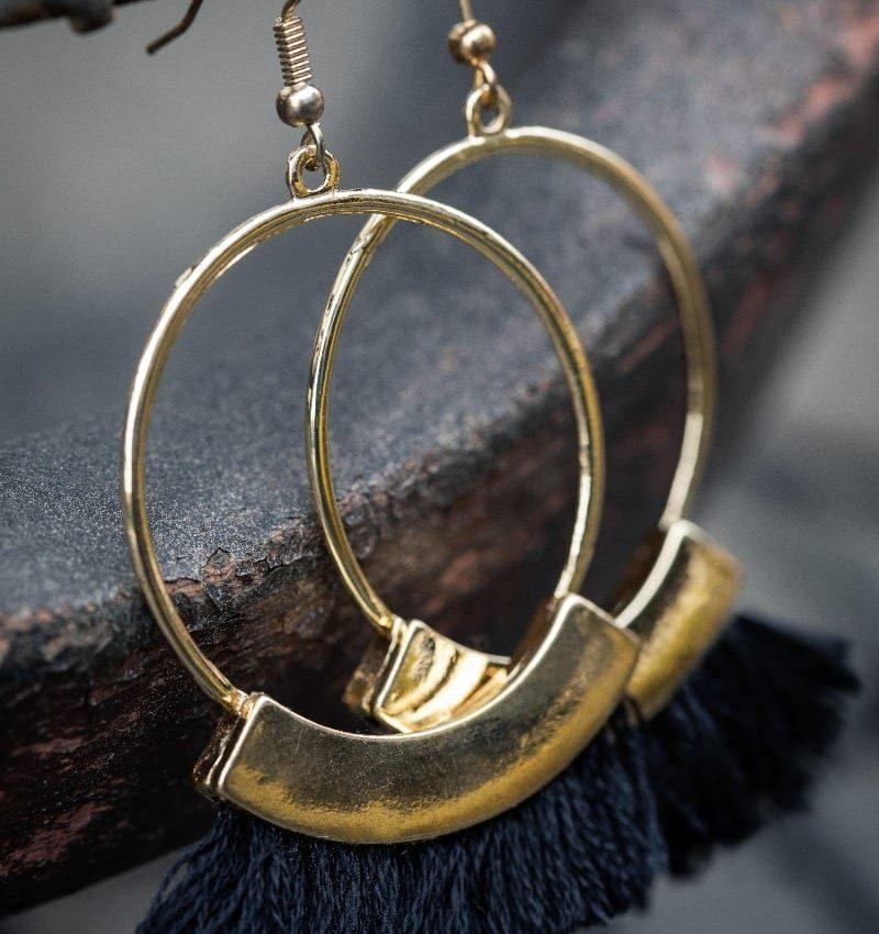 Black Fringe Hoop Earring-5005