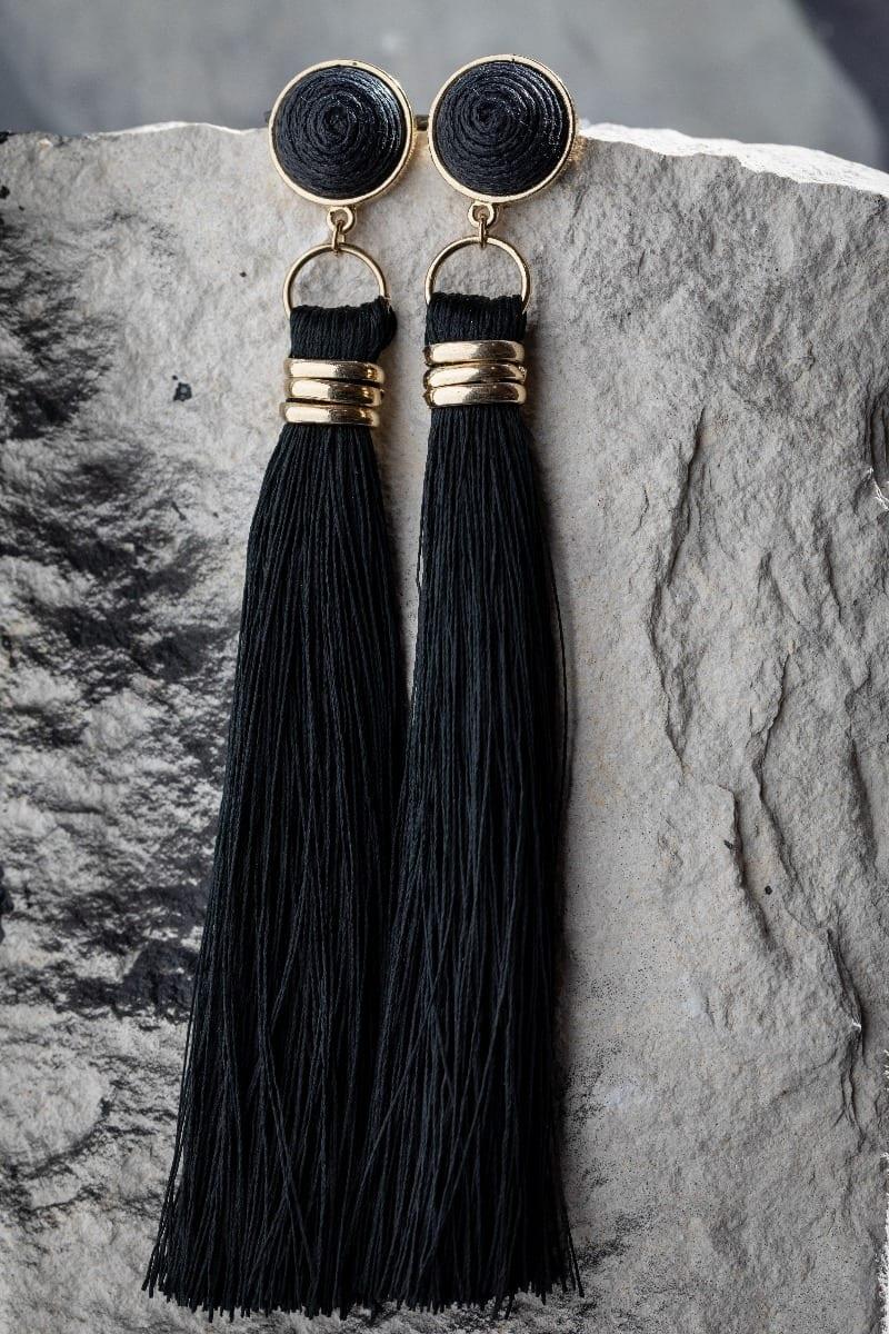 Black Fringe Earring-4994