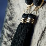 Black Fringe Earring-4993