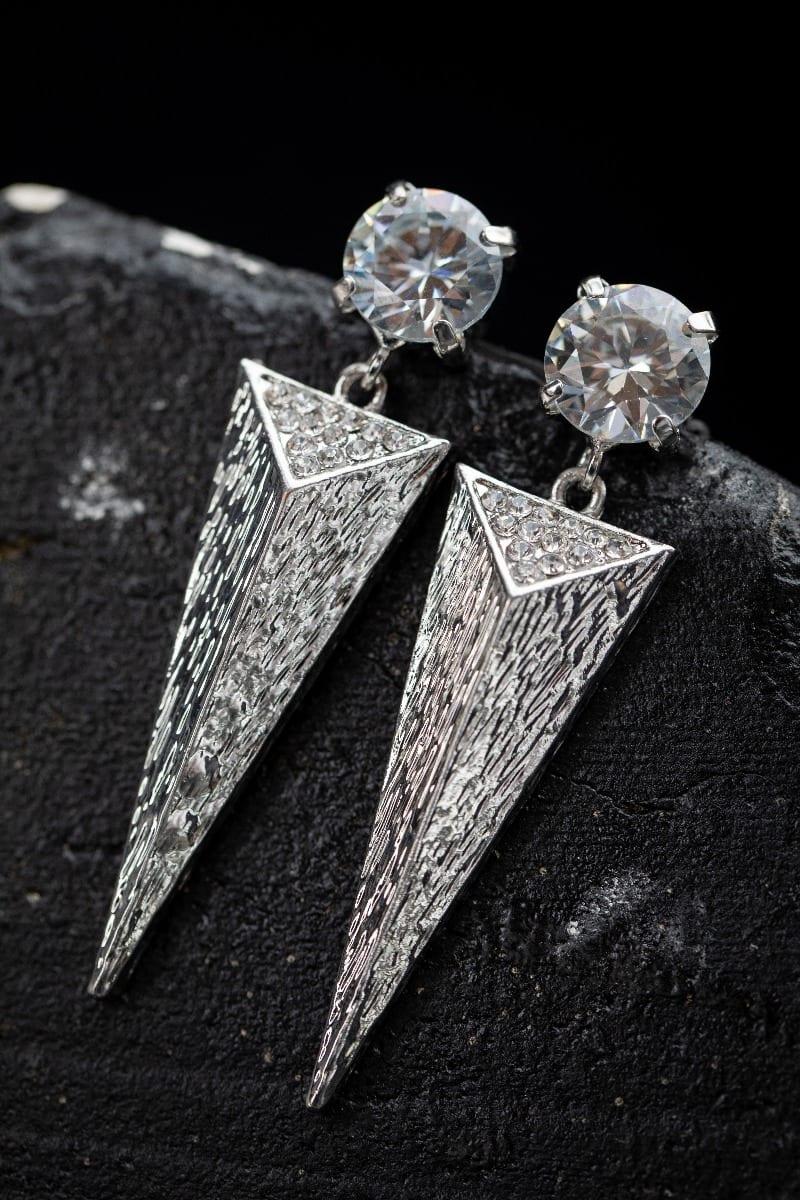 Cubic Zirconia triangle Spike Earring -5003