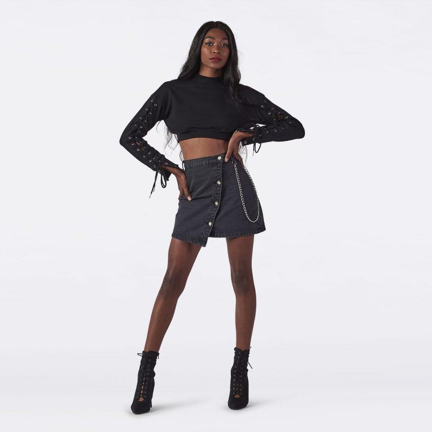 Femme Washed Denim Skirt-0